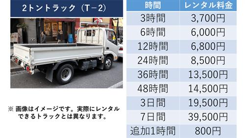 2tトラック(T-2)料金一覧
