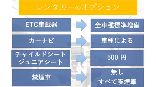 ジャパンレンタカーのオプション一覧、ETCは標準車載